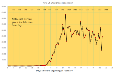new covid cases in the US, per day